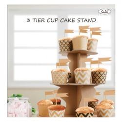 3 Tier Paper Cake Stand - Kraft