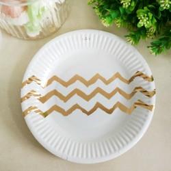 *12pk 180mm Metallic Gold Chevron Paper Plate