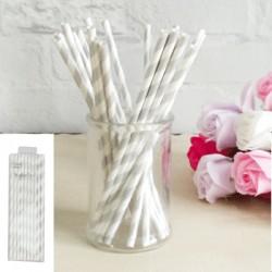 *20pk Silver Paper Straw
