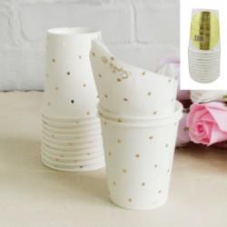 *12pk 200ml Metallic Gold Dotty Paper Cup