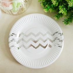 *12pk 180mm Metallic Silver Chevron Paper Plate