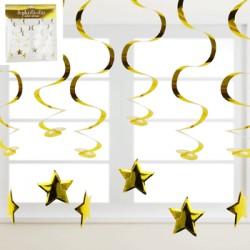 *6pk Metallic Gold Swirl Hanging Decoration w/Star