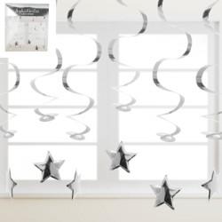 *6pk Metallic Silver Swirl Hanging Decoration w/Star