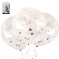 *3pk 45cm Silver Confetti Balloon