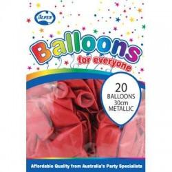 30cm Balloons Metallic Red
