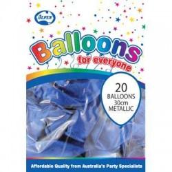 30cm Balloons Metallic Blue
