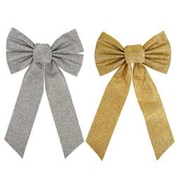 Bow Xmas Glitter Medium Gold/Silver
