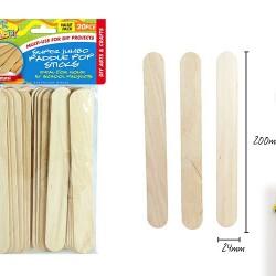 20pce S Jumbo PaddlePop Sticks-20cm NAT