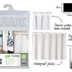 1pce Shower Curtain-180x200cm-White