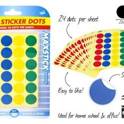 20 Sheet Large Sticker Dots-Colo