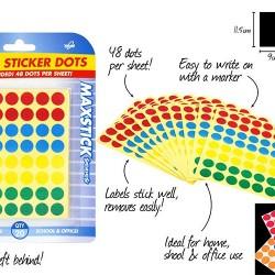 20 Sheet Small Sticker Dots-Colo