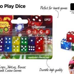 12pce Casino Dice (Coloured Transparent)